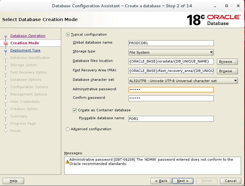 Oracle Linux 18c GA DBCA create database